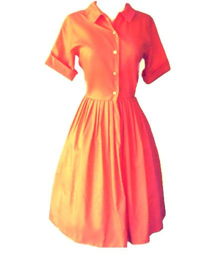 Under The Tuscan Sun-Inspired Orange Dupioni Silk 50's Style Shirt Dress-Retro-Vintage Style on Etsy, $125.00
