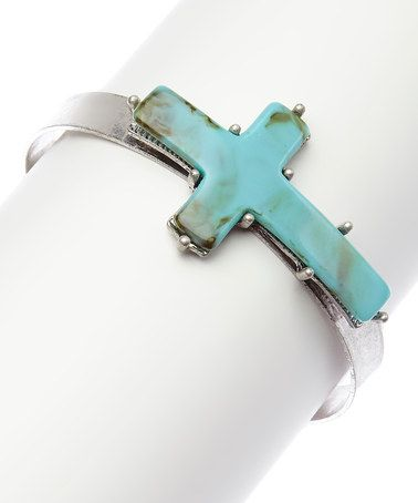 Love this Silver & Turquoise Cross Cuff on #zulily! #zulilyfinds