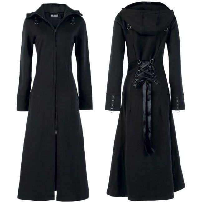 Poizen Industries - Raven Coat.  This full length black trench coat style gothic coat is made from lightweight fleece lined sweatshirt material. It has a two way zip down the front and has corset style ribbon lacing through D-rings at the back.