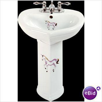 Children\'s Bathroom White Vitreous China, Prancing Unicorn Child ...