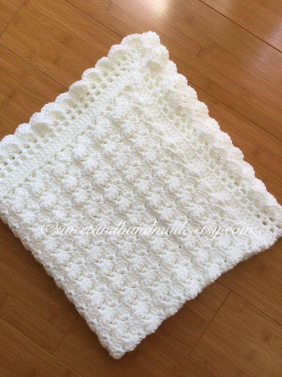crochet baby blanket afghan blanket blanket baby shower White baby ...