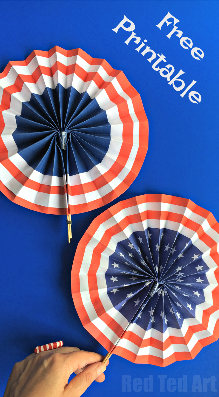 4th of july diy paper fans template