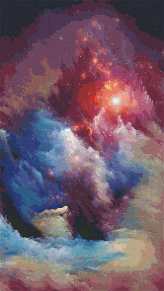 Cross stitch pattern Nebula stars large x stitch design Modern space crossstitch Science cross stich Beginners embroidery PDF Download DIY
