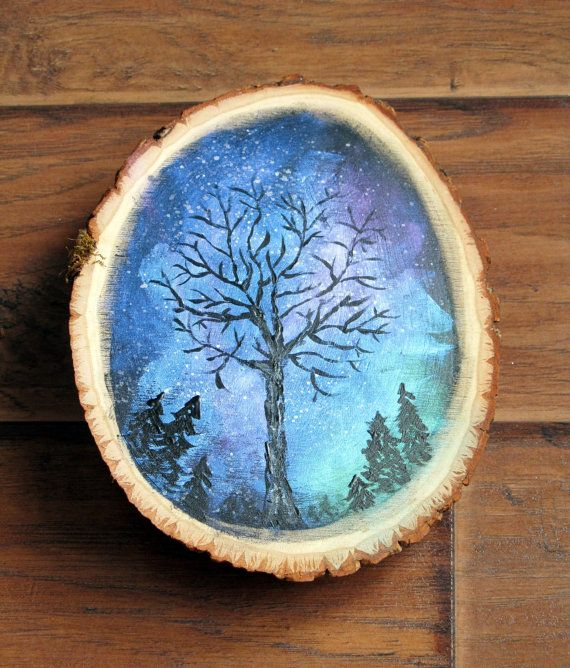 Northern lights painting on large wood slice art by for Mural on wood