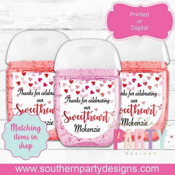Valentine Hand Sanitizer Labels Stickers Valentine Favor Tags