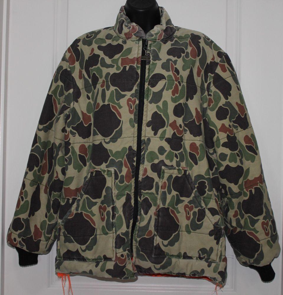 vintage walls coat jacket reversible blaze orange camo on walls men s insulated hunting coveralls id=44161