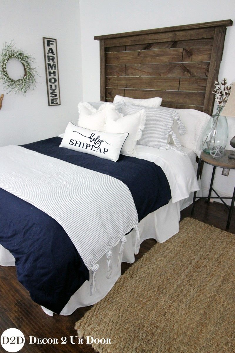 Master And Guest Bedroom Farmhouse Navy U0026 White Ticking Stripe U0026 Ties  Custom Designer Bedding Collection