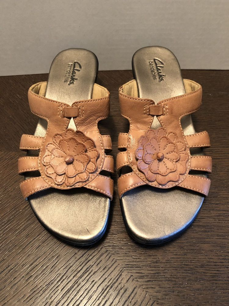 48e85629ee36 Clarks Bendables Women s Size 6M Comfort Sandals Leather Flower 36902   fashion  clothing  shoes