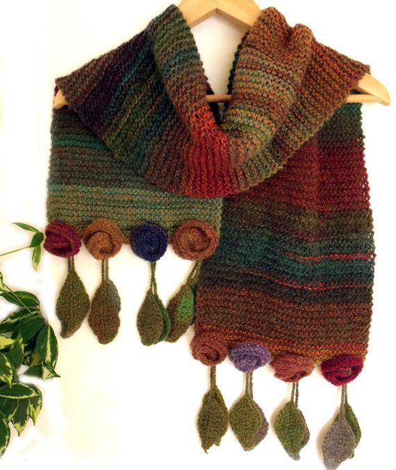Knitting Rose Yarns : Knit scarf wrap with roses and leaves wool quot autumnal wild