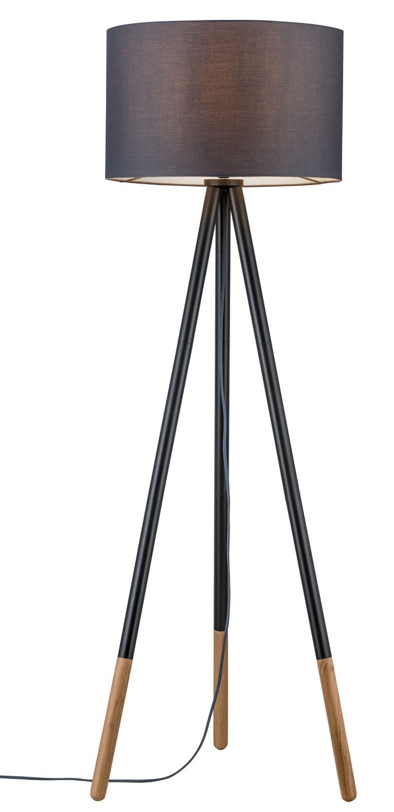 Paulmann Stehleuchte Neordic Rurik 1-flammig mit Stoffschirm Grau/Holz