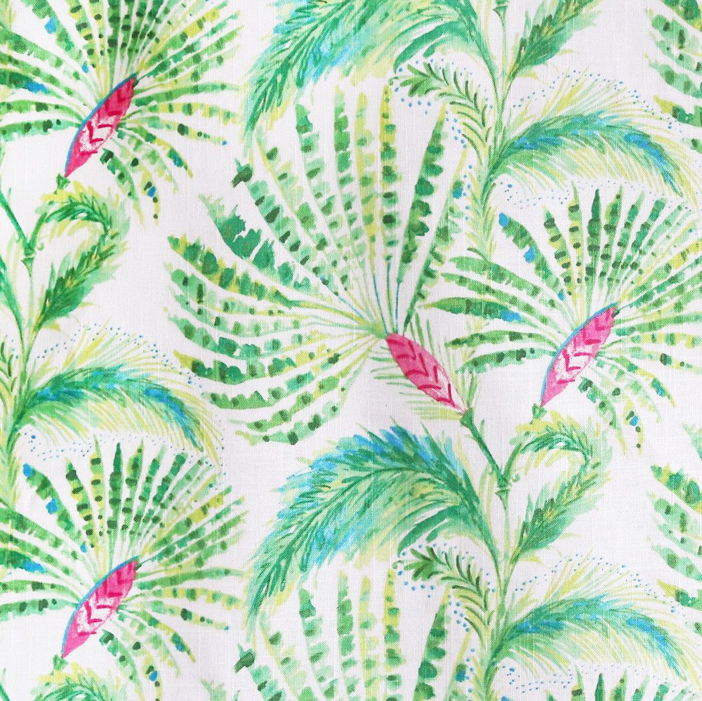 A fan palm tree fabric in lime and grass green, hibiscus pink and ...