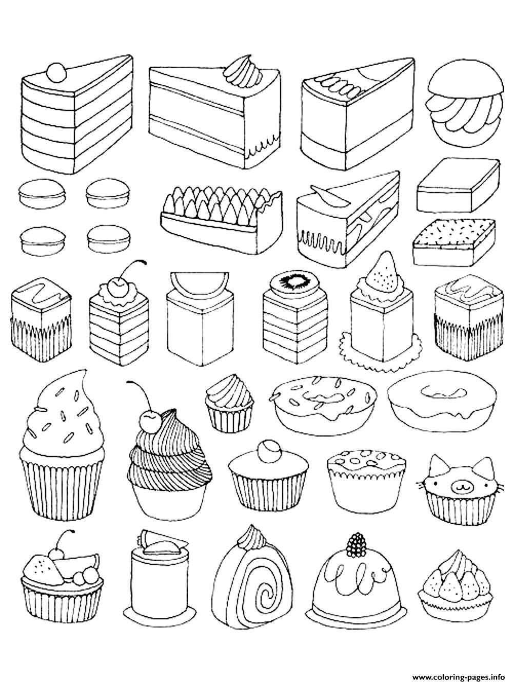 Print coloring adult cupcakes and little cakes coloring