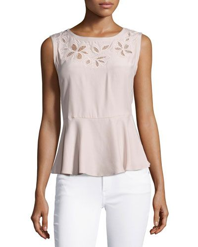 70d0670430b9d REBECCA TAYLOR FLORAL-EMBROIDERED SLEEVELESS SILK TOP