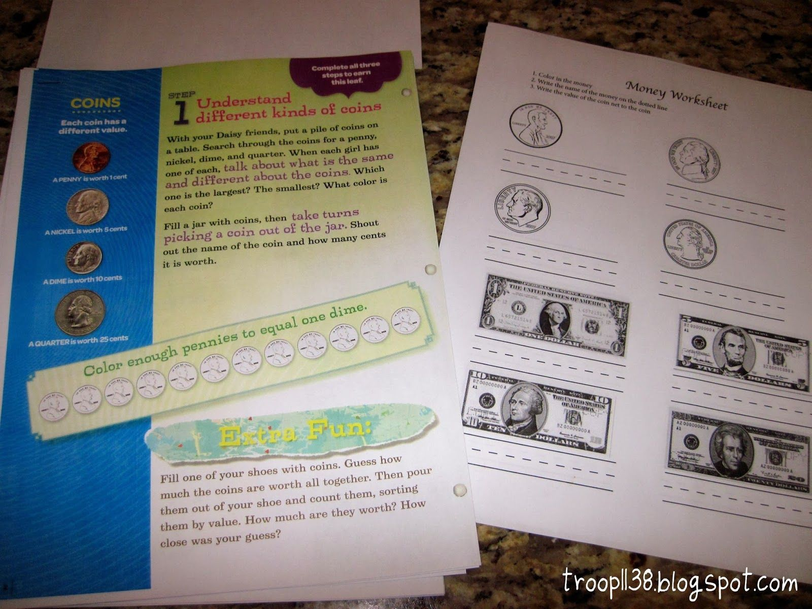 Has Link To Money Worksheet Girl Scout Troop