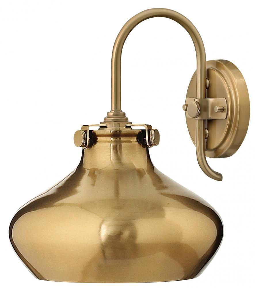 One Light Brushed Caramel Brushed Caramel Shade Glass Wall Light : JW1L   Hansen Lighting