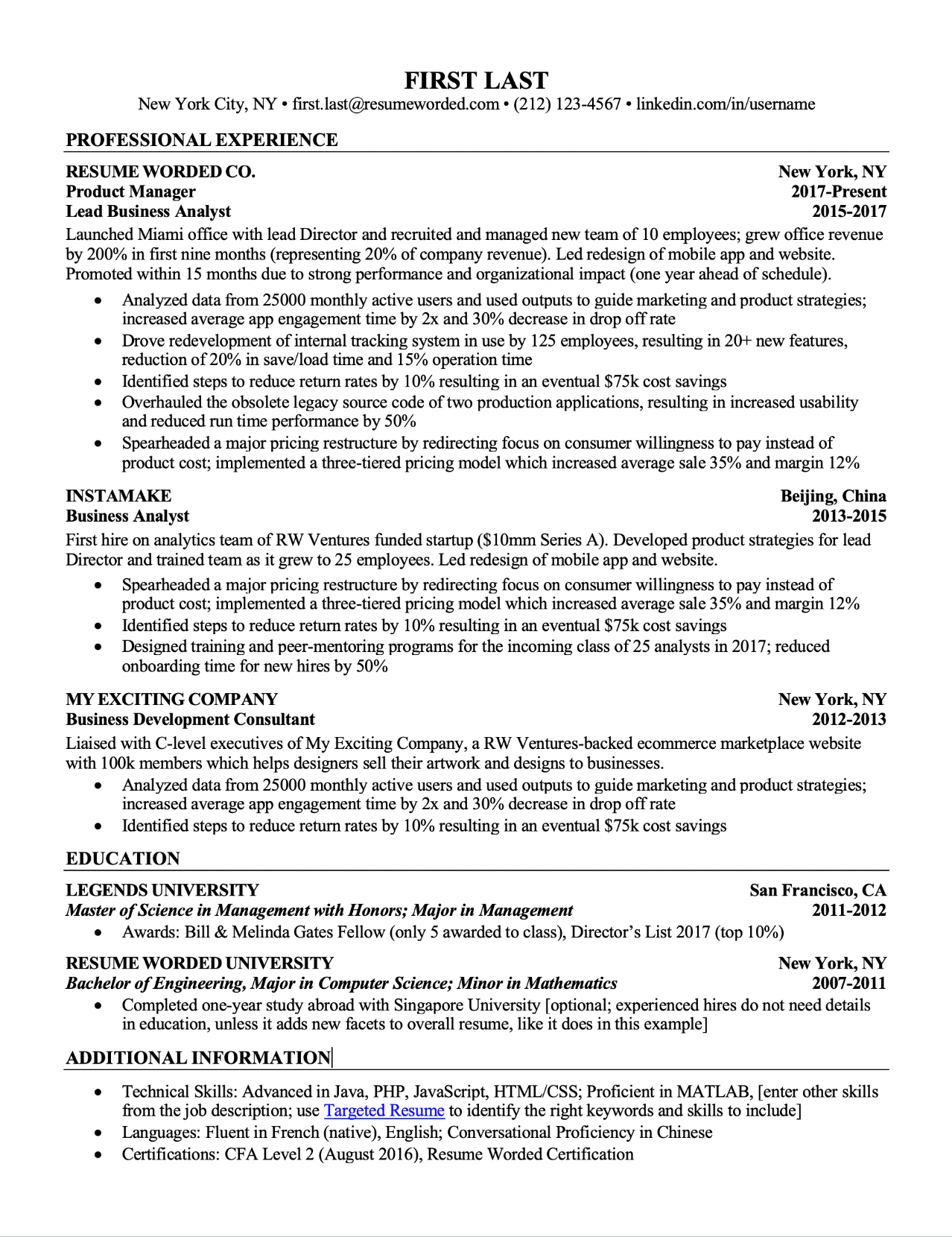 Work Experience Resume Format For Experienced The 2