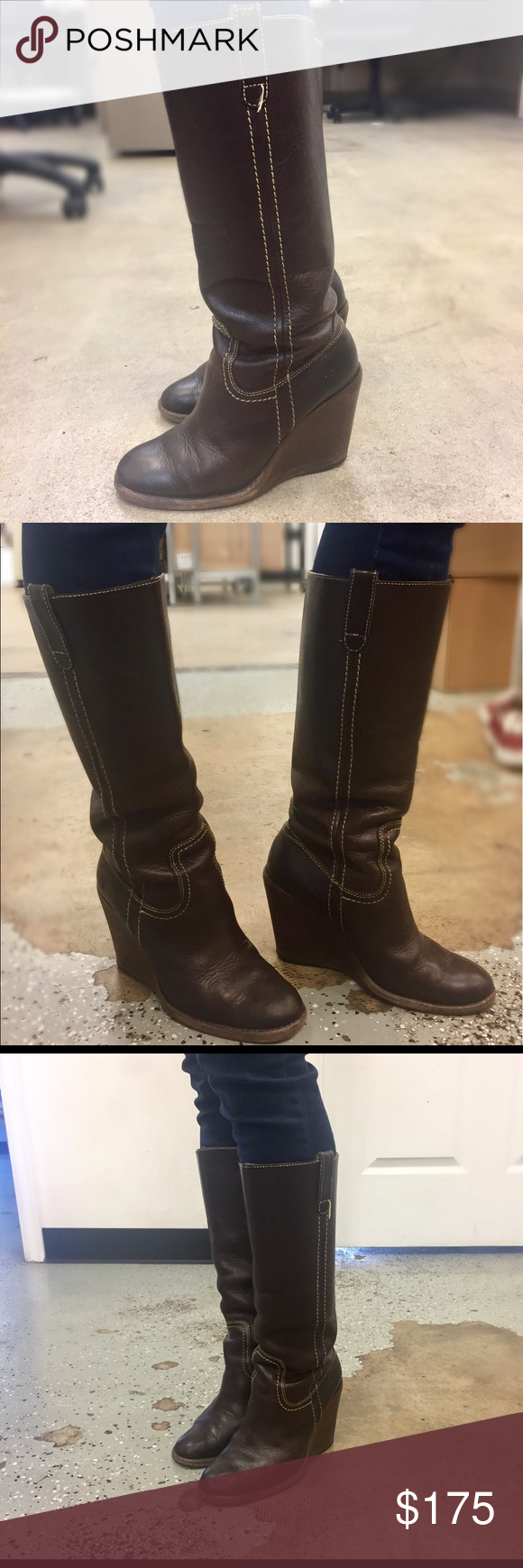 1f3430d5431d Frye- Brown Leather Wedge Caroline Campus Boots These Frye Caroline Campus  brown leather wedge boots