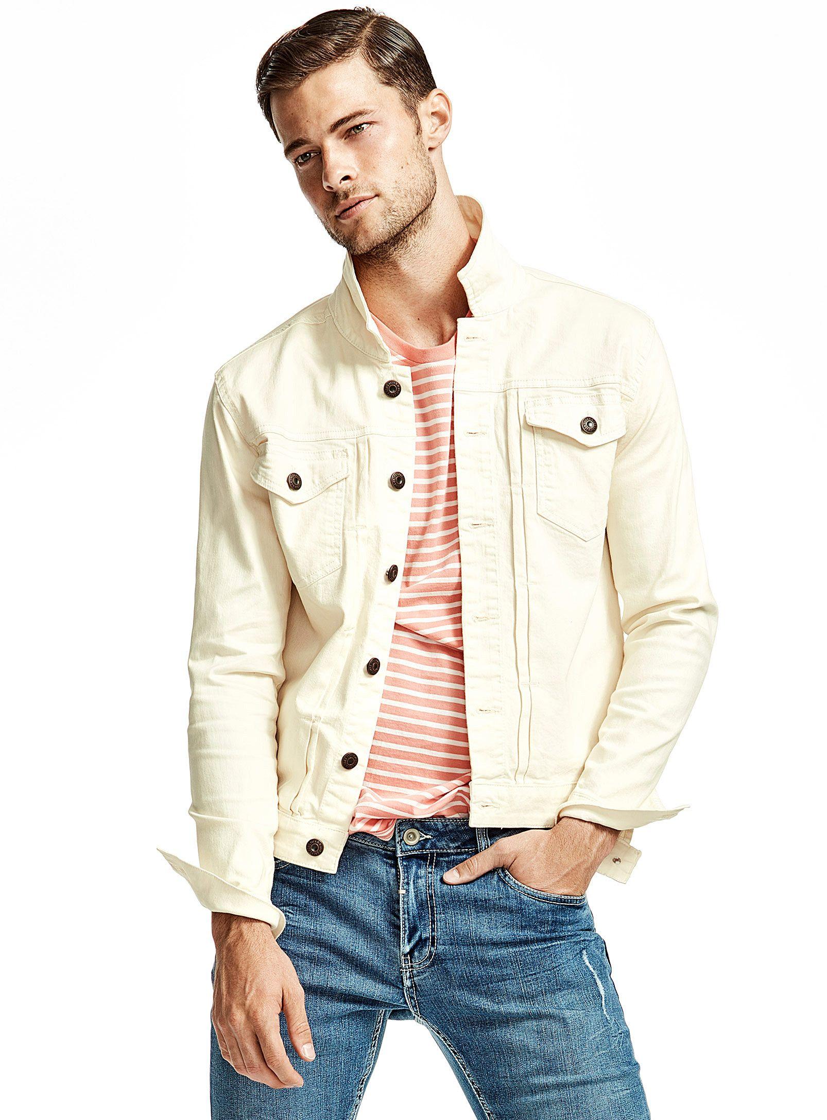 Cream Denim Jacket Only Sons Jackets Vests Mens Outfits Mens Casual Outfits Mens Outdoor Jackets [ 2175 x 1606 Pixel ]