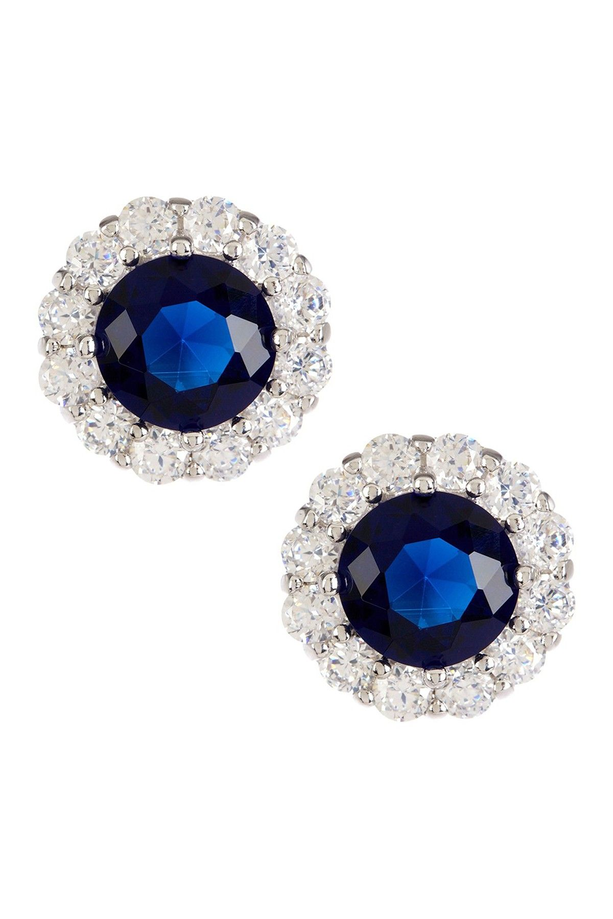 Lovely Natural Blue Sapphire Gemstone 925 Sterling Silver Pave Diamond Earring