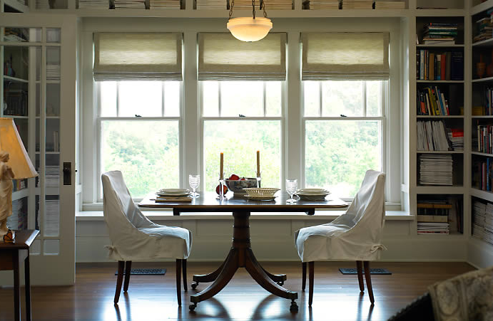 Note Lutron Roman Shades Dining Room Design Dining Room Lighting Home Decor