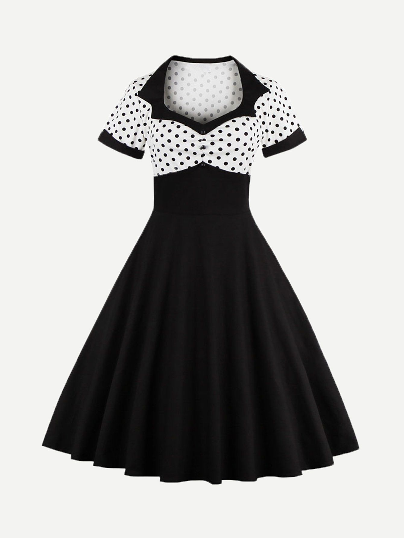 3f73202a6074 Button Front Polka Dot Top Dress | Fashion | Retro vintage dresses ...