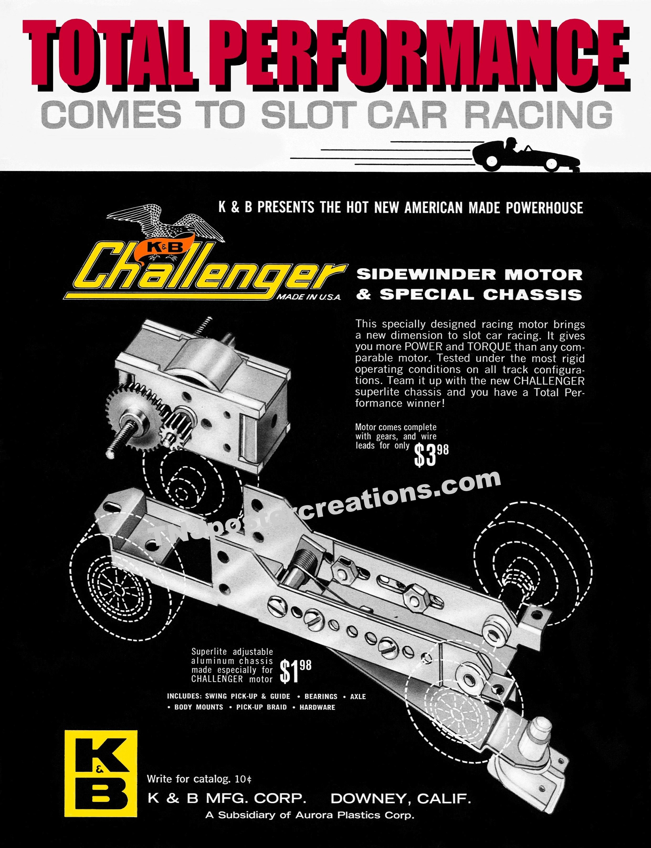 Challenger slot car chassis poster  Total performance comes