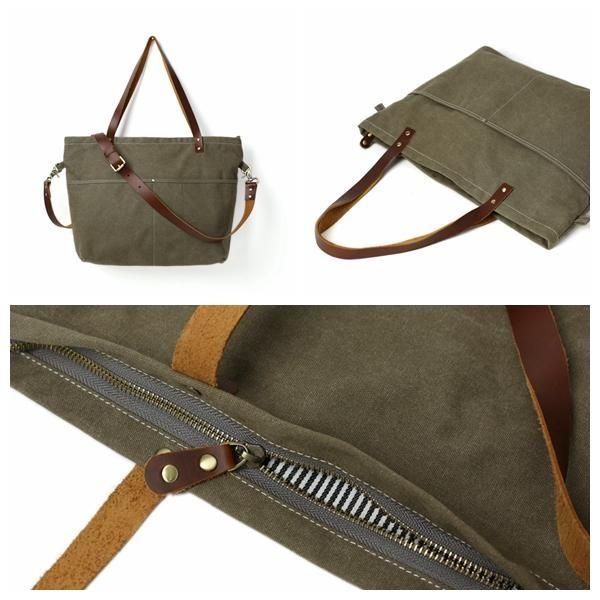 a3f95d105b Handmade Army Green Canvas Tote Bag Messenger Bag Shopper Bag School Bag  Handbag 14022