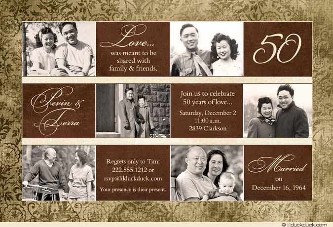 Floral 50th anniversary card photo party invitation golden brown