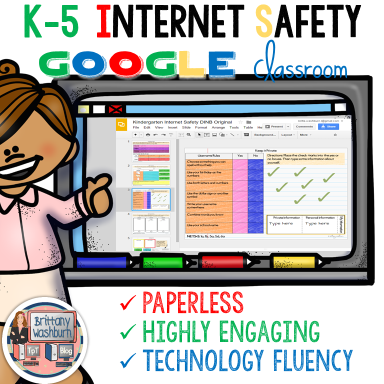 Internet Safety Digital Interactive Notebook K-5 Bundle | Internet ...