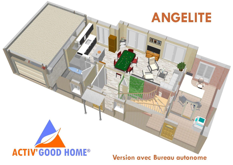 Maison bio climatique de 122 m²conçue pour les petits terrains 12m x 7m hors garage plan du rez de chaussée version bureau autonome avec entrée