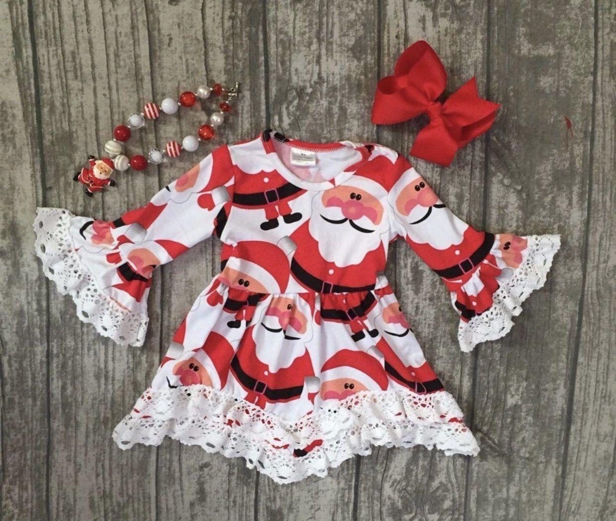 Baby Girl Santa Claus Dress Toddler Christmas Dress Long Sleeves