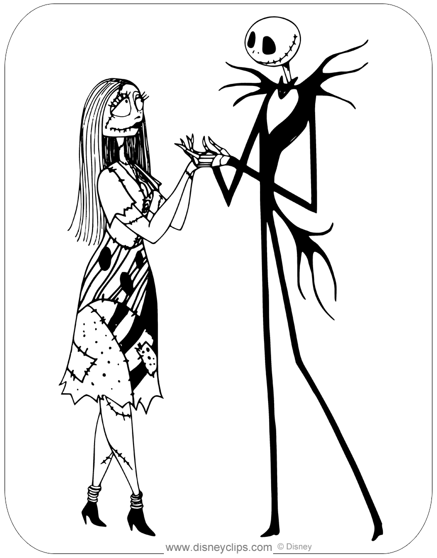 Coloring page of Sally and Jack Skellington from The Nightmare