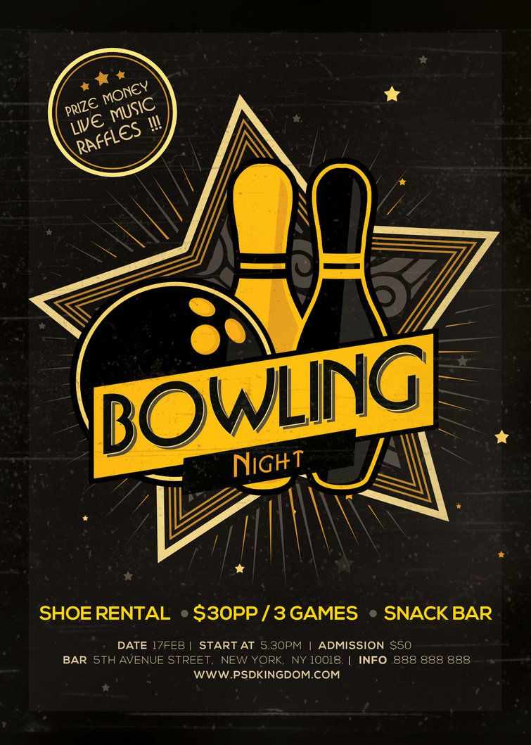 Bowling Magazine Ad Poster Or Flyer Flat And  Bowling Flyer Template Free