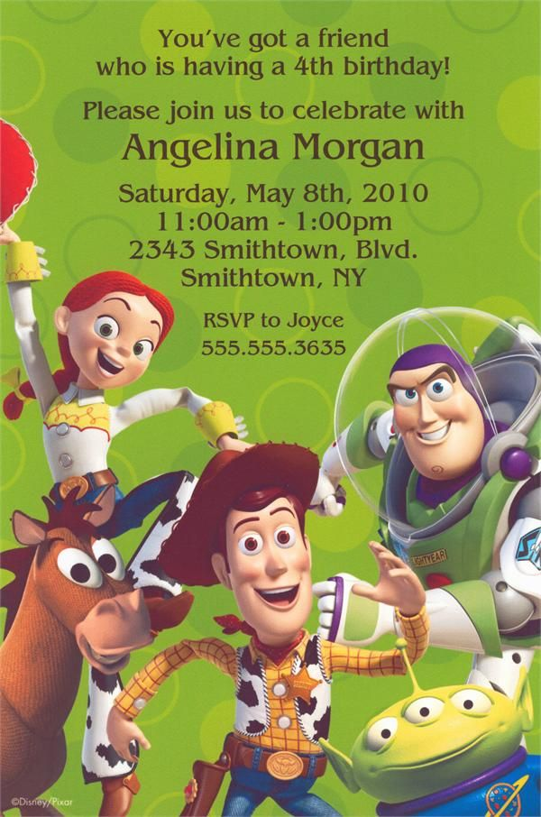 Toy Story Gang party invitations features Woody, Buzz Lightyear ...