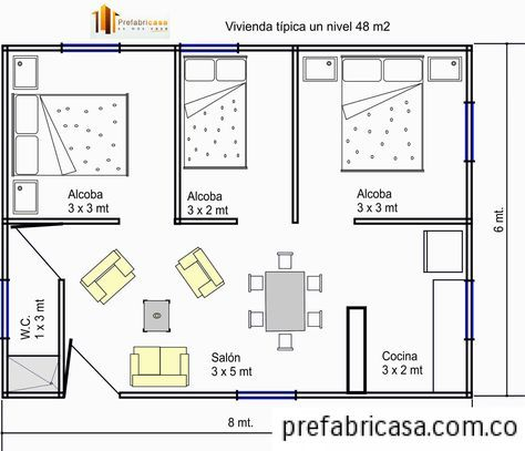 Planos de casas peque as con 2 habitaciones con medidas for Dormitorio 3x5