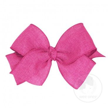 """King soft burlap bow  A great big bow addition to your on-trend wardrobe! Approximate Size: 6.25"""" x 5"""" (2 1/4"""" Ribbon). Also available in Mini King size. Featuring the WeeStay™ No Slip Clip!"""