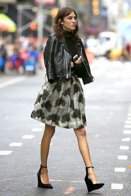 649b7677081 ... Alexa Chung - feminine dress + leather jacket. Madison Muse  My Black  Leather Jacket