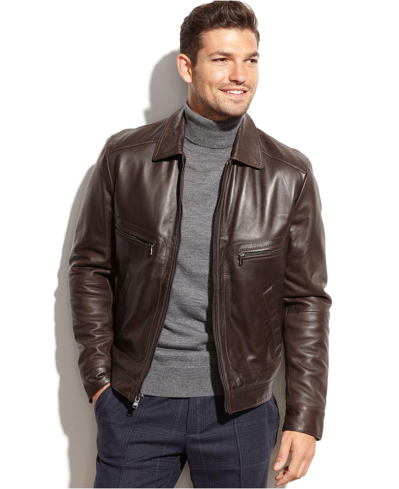 Michael Michael Kors Welby ShirtCollar Leather Jacket ad