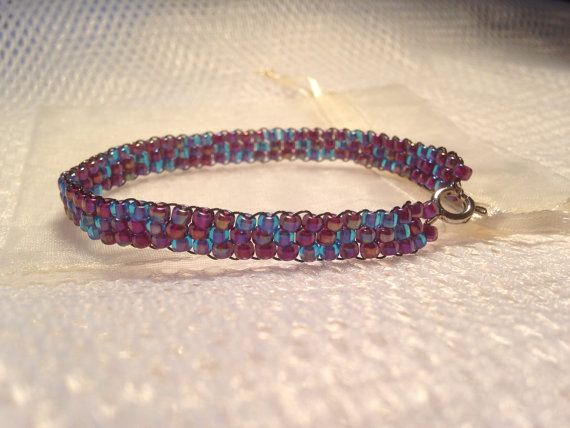 Beaded bracelet - blue and purple pattern - handmade from quality Japanese seed beads. Includes cream organza gift bag. on Etsy, $14.95 AUD