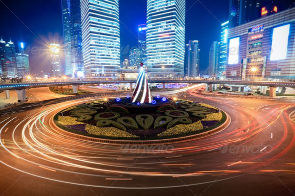 shanghai downtown at night by chuyu2014. shanghai downtown at night with roundabout light trails #AD #night, #downtown, #shanghai, #trails