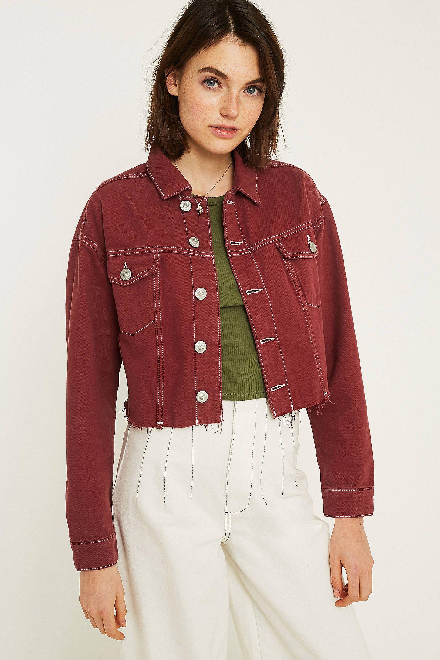 c491cfd0debf1 UO Contrast Stitch Pink Crop Denim Jacket | Fashion | Cropped denim ...