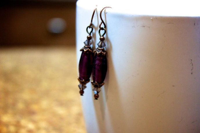 Purple Crystal and Copper Earrings