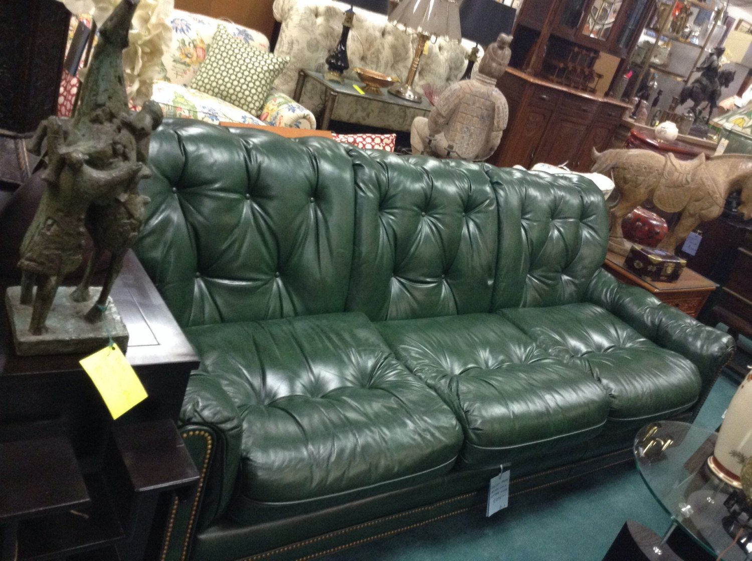 Hancock Moore Chesterfeild Green Leather Sofa By