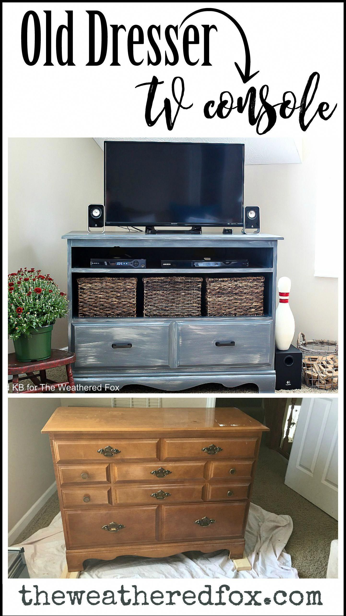 Tv Console Diy From Old Dresser Guest Post From Reinvented Swivel