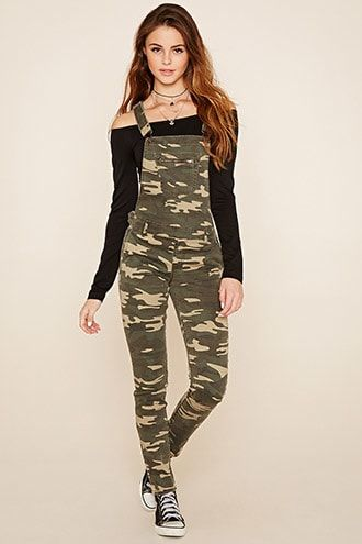 dd31d7a9e19f8 Camo Print Dungarees 16.8 | Forever 21 E | Camouflage pants ...