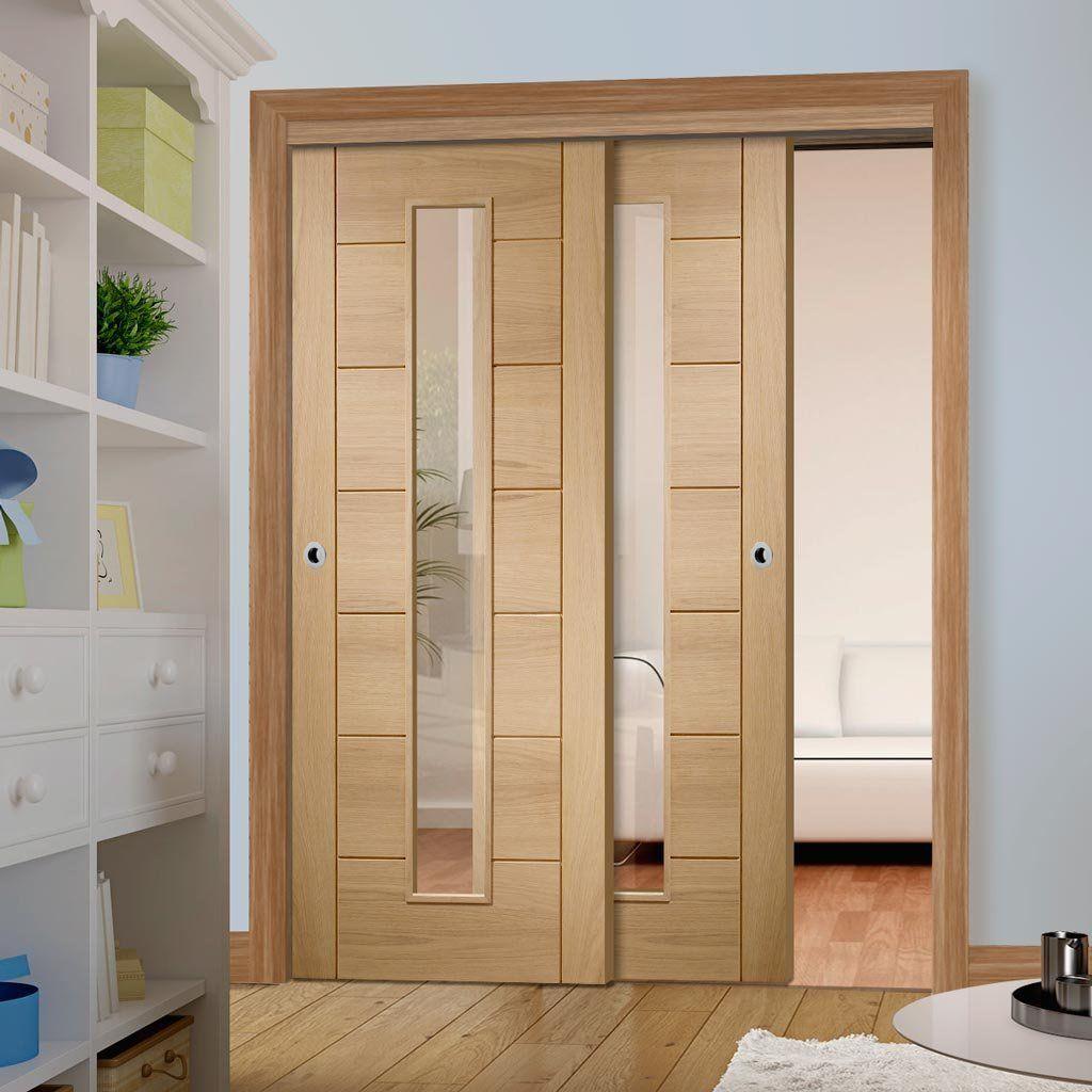 Two Sliding Doors And Frame Kit Palermo Oak 1 Pane Door Clear Glass Prefinished Sliding Doors Doors Wooden Main Door Design