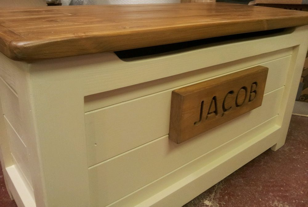 Handmade Solid Wooden Pine Toy Box Ottoman Painted Stained And