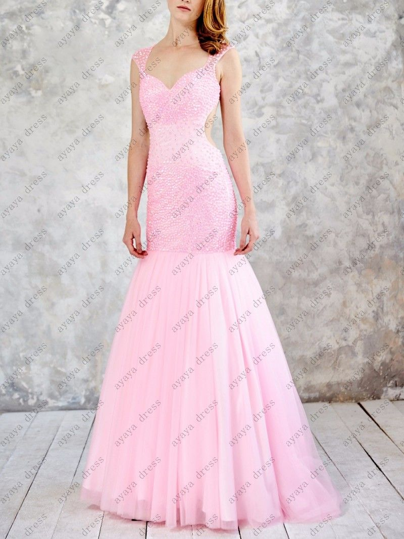 Click to buy ucuc wejanedress customize peach mermaid prom dresses
