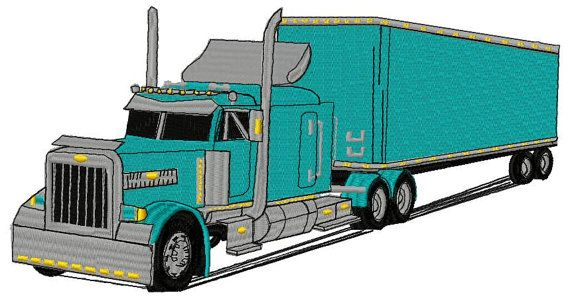Big Rig Truck Machine Embroidery Design Instant Download With