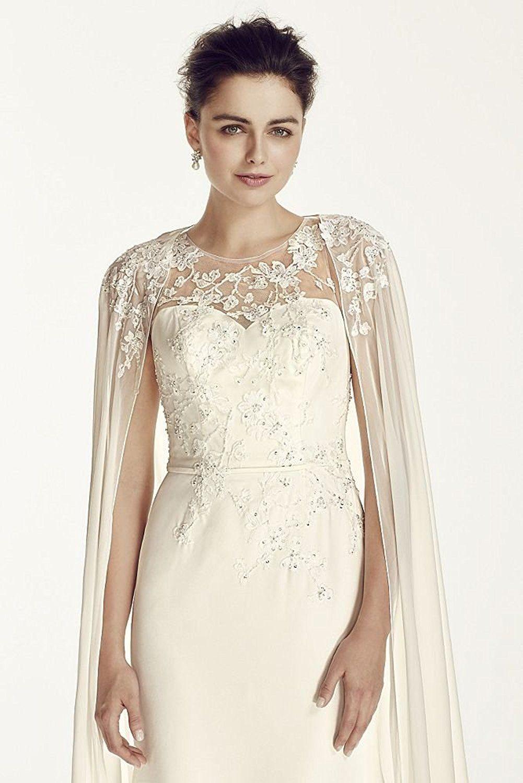 c1c6d3399cf7 Oleg Cassini Crepe Wedding Dress with Chiffon Cape Style CWG716, Ivory, 8  at Amazon Women's Clothing store: